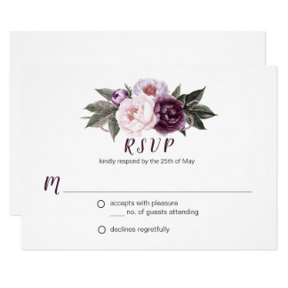 För pionbukett för purpurfärgad plommon rosa OSA 8,9 X 12,7 Cm Inbjudningskort