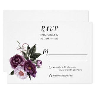 För piongrönska för purpurfärgad plommon rosa OSA 8,9 X 12,7 Cm Inbjudningskort
