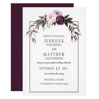 För pionvattenfärg för purpurfärgad plommon rosa 12,7 x 17,8 cm inbjudningskort