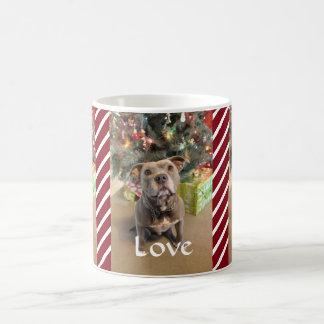 För Pitbull för kärlekfredglädje mugg röd jul Kaffemugg
