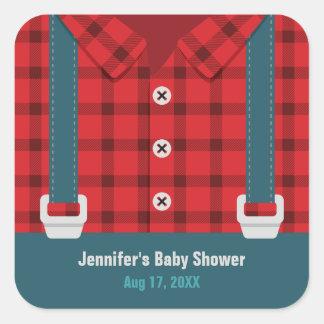 För plädDenim för Lumberjack röda klistermärkear Fyrkantigt Klistermärke