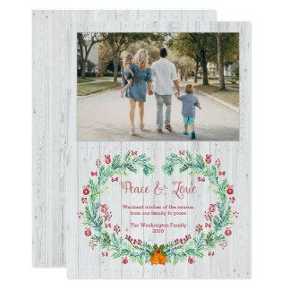 För plankajul för vit wood foto för kran för 12,7 x 17,8 cm inbjudningskort