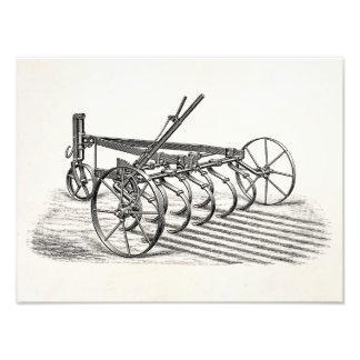 För ploglantgård för vintage åkerbruk plog för fototryck