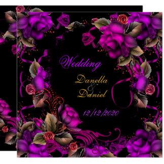 För plommonro för elegant bröllop rosa svart fyrkantigt 13,3 cm inbjudningskort