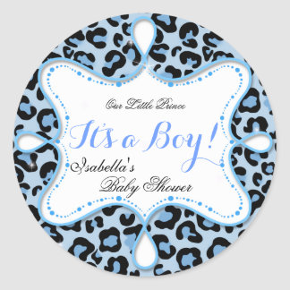För pojkeblått för Prince baby shower Leopard Runda Klistermärken
