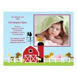 För pojkefödelse för lantgård djurt meddelande för anpassade inbjudan