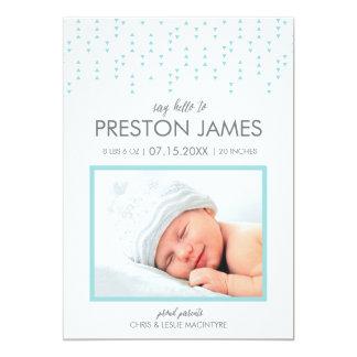 För pojkefödelse för mycket lilla trianglar 12,7 x 17,8 cm inbjudningskort