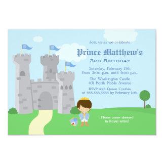 För pojkefödelsedagsfest för kunglig prince 12,7 x 17,8 cm inbjudningskort