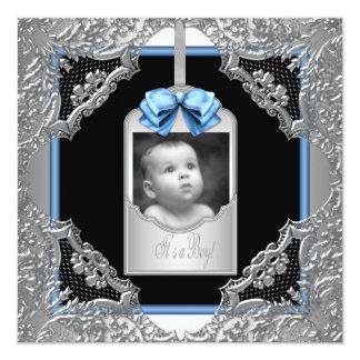 För pojkefoto för blått svart meddelande för fyrkantigt 13,3 cm inbjudningskort