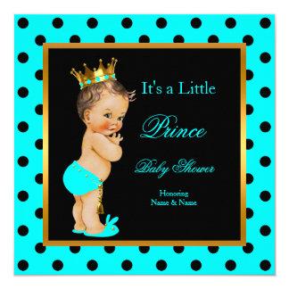 För pojkekricka för Prince baby shower brunett för Fyrkantigt 13,3 Cm Inbjudningskort