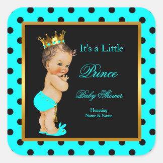 För pojkekricka för Prince baby shower brunett för Fyrkantigt Klistermärke