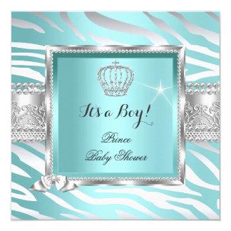 För pojkekricka för Prince baby shower sebra för Fyrkantigt 13,3 Cm Inbjudningskort