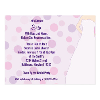 För polka dotsinbjudan för möhippa purpurfärgade vykort