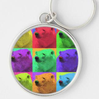 För Popart för Grungepopkonst Closeup färgrik pola Rund Silverfärgad Nyckelring