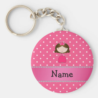 För princessrosor för personlig känd rosa polka rund nyckelring