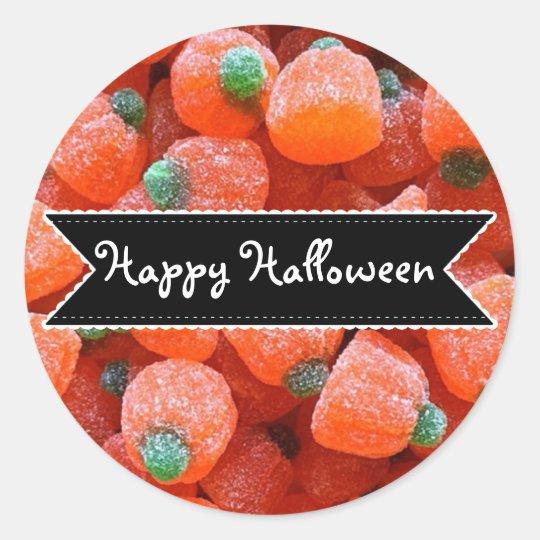 För pumpagodis för happy halloween orange runt klistermärke