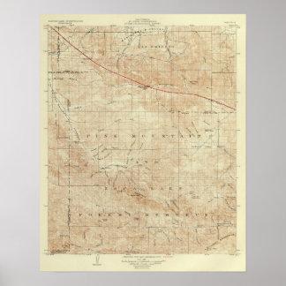 För quadranglevisning för Mt Pinos San Andreas kly Poster