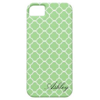 För Quatrefoil för Mint grön Monogram mönster Barely There iPhone 5 Fodral