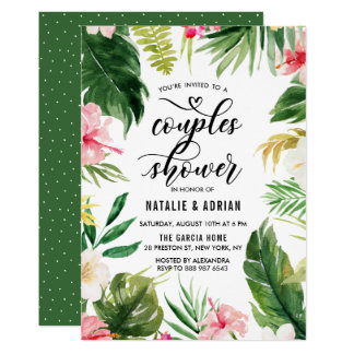 För rampar för vattenfärg tropisk blom- dusch 12,7 x 17,8 cm inbjudningskort