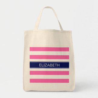 För randmarin för shock rosa #2 vit Horiz Monogram Tygkasse