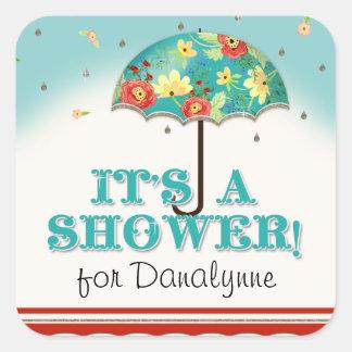 För Ranunculusparaply för mod modern blom- baby Fyrkantigt Klistermärke