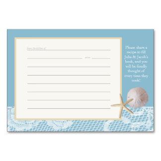 För receptkort för strand romanska blått bordsnummer
