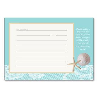 För receptkort för strand romanska för Robin blått Bordsnummer