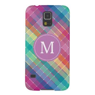 För regnbågepläd för färgrik Monogram initiala Galaxy S5 Fodral