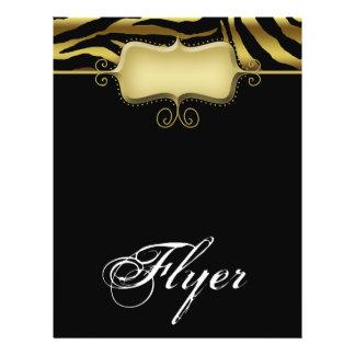 För reklambladsalong för sebra djur svart för guld full färg flygblad