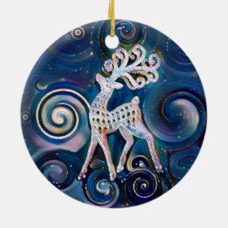 För renjul för Starry natt prydnad Rund Julgransprydnad I Keramik