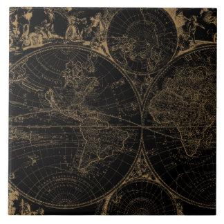 För resakarta för gammal värld nautisk svart kakelplatta