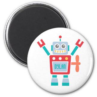 För robotleksak för vintage gullig för barn magnet rund 5.7 cm