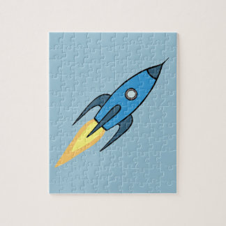 För Rocketship för blått Retro design gullig Pussel