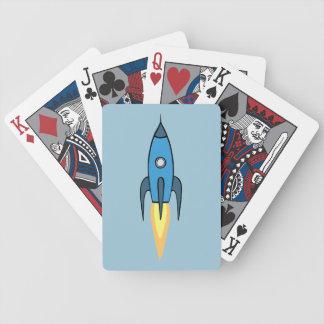 För Rocketship för blått Retro design gullig Spelkort
