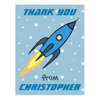 För Rocketship för blått Retro tack gulligt Vykort