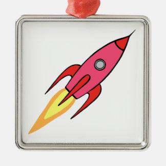 För Rocketship för rosor & för vit gullig Retro Julgransprydnad Metall