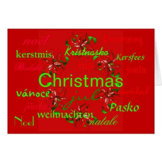 För röd kort kranvärld runt för jul