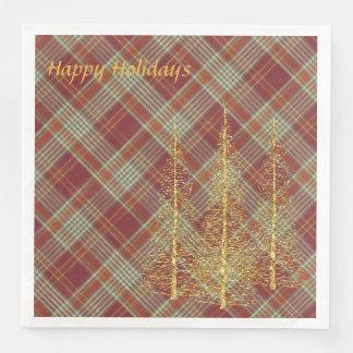 För röd pappra servetter plädjul för helgdag