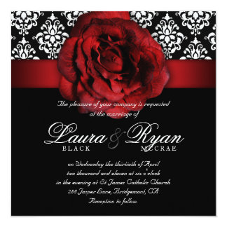 För röd rossvart för elegant bröllop damastast vit fyrkantigt 13,3 cm inbjudningskort