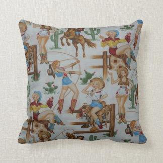 För RodeoCowgirls för vintage Retro MoJo dekorativ Kudde