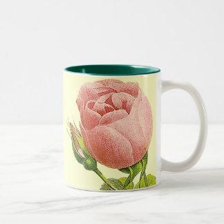 För rokaffe för rosa vintage botanisk mugg