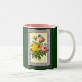 För rokaffe för rosor gul botanisk mugg