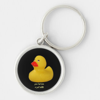 För roligtgult för Rubber anka gullig keychain för Rund Silverfärgad Nyckelring