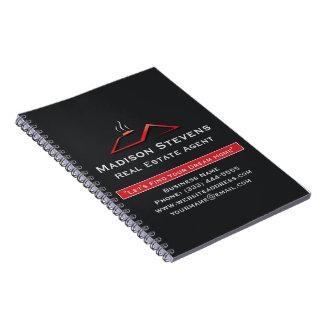 För Rooftopspiral för fastighet röd anteckningsbok