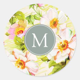 För ropioner för vintage blom- klistermärke för