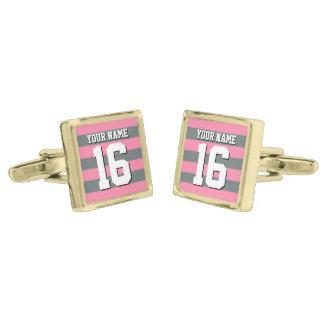 För rosa Jersey kollag för Flamingo Preppy rand Guldpläterade Manschetterknappar