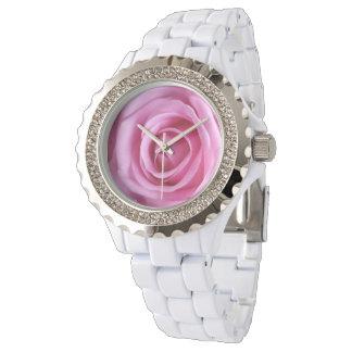 För rosa rosblomma för romantisk kärlek söt mjuk armbandsur