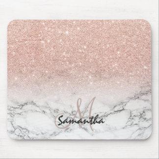 För rosaglitter för beställnings- faux rosa marmor musmatta