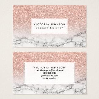För rosaglitter för beställnings- faux rosa marmor visitkort