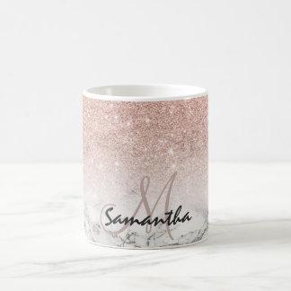 För rosaglitter för beställnings- faux rosa marmor vit mugg